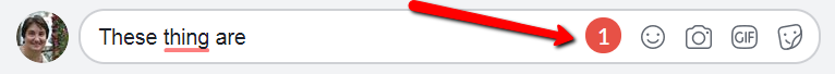 Screenshot showing Grammarly icon has changed from green to red indicating the numbers of errors found.